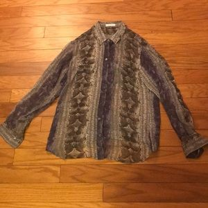 Equipment Sheer Snake Print Shirt